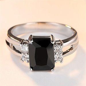 Baguette Cut Blk CZ Crystal Ring 18K White Gold